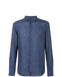 Camisa de manga larga azul marino de Paolo Pecora