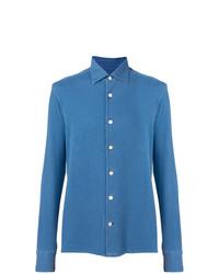 Camisa de manga larga azul de Kiton