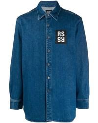 Camisa de manga larga azul de Raf Simons
