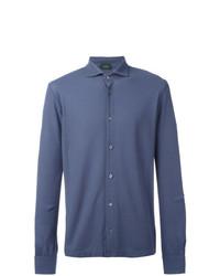 Camisa de manga larga azul de Zanone