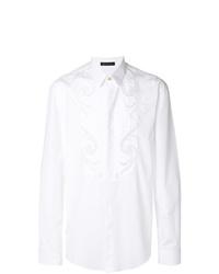 Camisa de manga larga bordada blanca de Versace