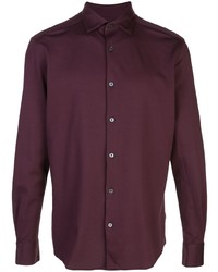 Camisa de manga larga burdeos de Ermenegildo Zegna