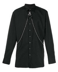 Camisa de manga larga con adornos negra de DSQUARED2