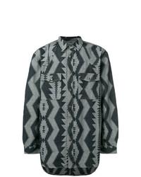 Camisa de manga larga con estampado geométrico azul marino de Diesel Black Gold
