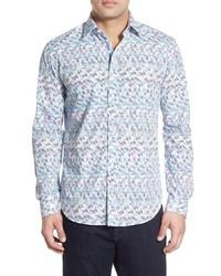 Camisa de manga larga con estampado geométrico celeste