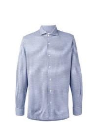 Camisa de manga larga con estampado geométrico celeste de Barba
