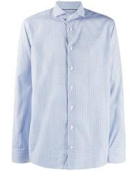 Camisa de manga larga con estampado geométrico celeste de Eton