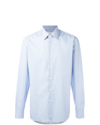 Camisa de manga larga con estampado geométrico celeste de Prada