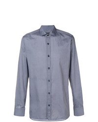 Camisa de manga larga con estampado geométrico celeste de Z Zegna