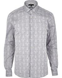 Camisa de manga larga con estampado geométrico gris