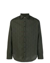 Camisa de manga larga con estampado geométrico verde oscuro de Etro