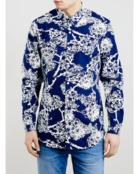 Camisa de manga larga con print de flores azul marino