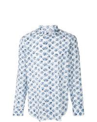 Camisa de manga larga con print de flores celeste de Eleventy