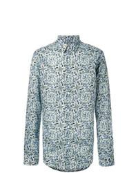 Camisa de manga larga con print de flores celeste de Fendi