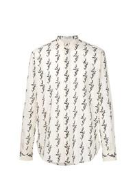 Camisa de manga larga con print de flores en beige de Saint Laurent