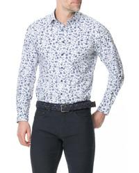 Camisa de manga larga con print de flores en blanco y azul marino