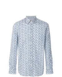Camisa de manga larga con print de flores en blanco y azul de Canali
