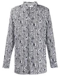 Camisa de manga larga con print de flores en blanco y negro de Neil Barrett