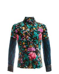 Camisa de manga larga con print de flores en multicolor de Pierre Louis Mascia