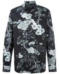 Camisa de manga larga con print de flores en negro y blanco