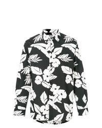 Camisa de Manga Larga con print de flores en Negro y Blanco de MSGM