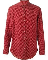 Camisa de Manga Larga con print de flores en Rojo y Blanco de DSQUARED2
