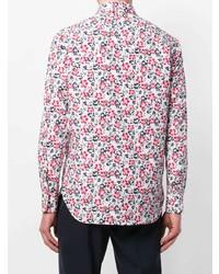 Camisa de manga larga con print de flores en rojo y blanco de Kiton