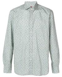 Camisa de manga larga con print de flores en verde menta de Corneliani
