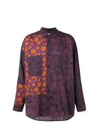 Camisa de manga larga con print de flores morado oscuro de Damir Doma