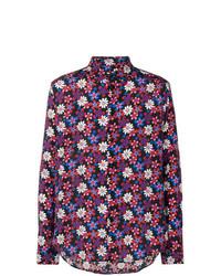 Camisa de manga larga con print de flores morado oscuro de Garcons Infideles