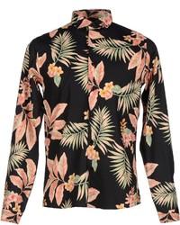 Camisa de manga larga con print de flores negra