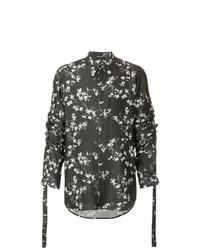 Camisa de manga larga con print de flores negra de Ann Demeulemeester
