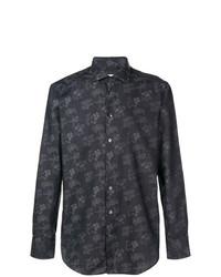 Camisa de manga larga con print de flores negra de Etro