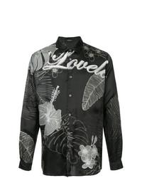 Camisa de manga larga con print de flores negra de Loveless