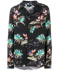 Camisa de manga larga con print de flores negra de Not Guilty Homme