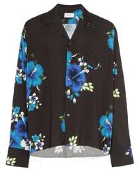 Camisa de manga larga con print de flores negra de Rhude