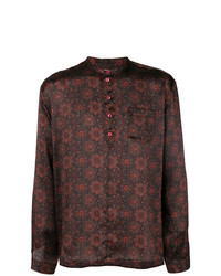 Camisa de manga larga con print de flores negra de Saint Laurent