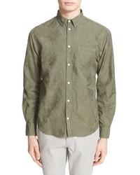 Camisa de manga larga con print de flores verde oliva