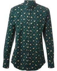 Camisa de manga larga con print de flores verde oscuro