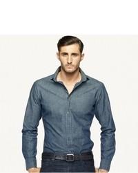 Camisa de manga larga de cambray azul marino