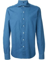 Camisa de manga larga de cambray azul de Fay