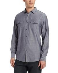 Camisa de manga larga de cambray azul de John Henry