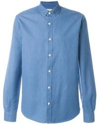 Camisa de manga larga de cambray azul de Melindagloss