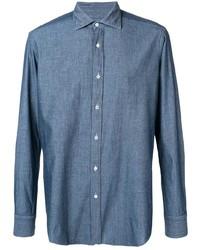 Camisa de manga larga de cambray azul de Mp Massimo Piombo