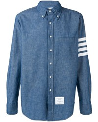 Camisa de manga larga de cambray azul de Thom Browne