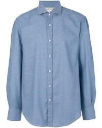 Camisa de manga larga de cambray celeste de Brunello Cucinelli
