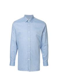 Camisa de manga larga de cambray celeste de Gieves & Hawkes