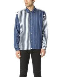 Camisa de manga larga de cambray de rayas verticales azul