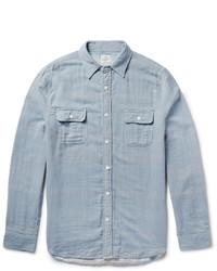Camisa de manga larga de cambray de rayas verticales celeste