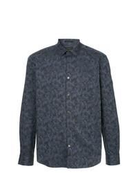 Camisa de manga larga de camuflaje azul marino de D'urban